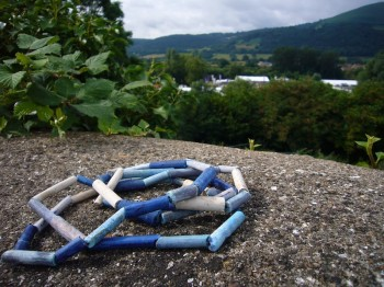 clay pipe stems found on Brecon Monmouthshire canal, coloured